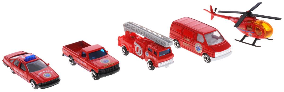Welly Игровой набор Пожарная команда 5 предметов97506BИгровой набор Welly Пожарная команда представляет собой 5 реалистичных моделей, выполненных в виде точных копий пожарной техники. Набор включает в себя 4 разные машинки и вертолет. Модели отличаются высоким качеством исполнения и детализации. Корпус моделей выполнен из металла, стекла изготовлены из прочного прозрачного пластика. Колесики машинки и пропеллер вертолета вращаются. Лестница пожарной машины раздвигается. Ваш ребенок часами будет играть с набором, придумывая различные истории. Порадуйте его таким замечательным подарком!
