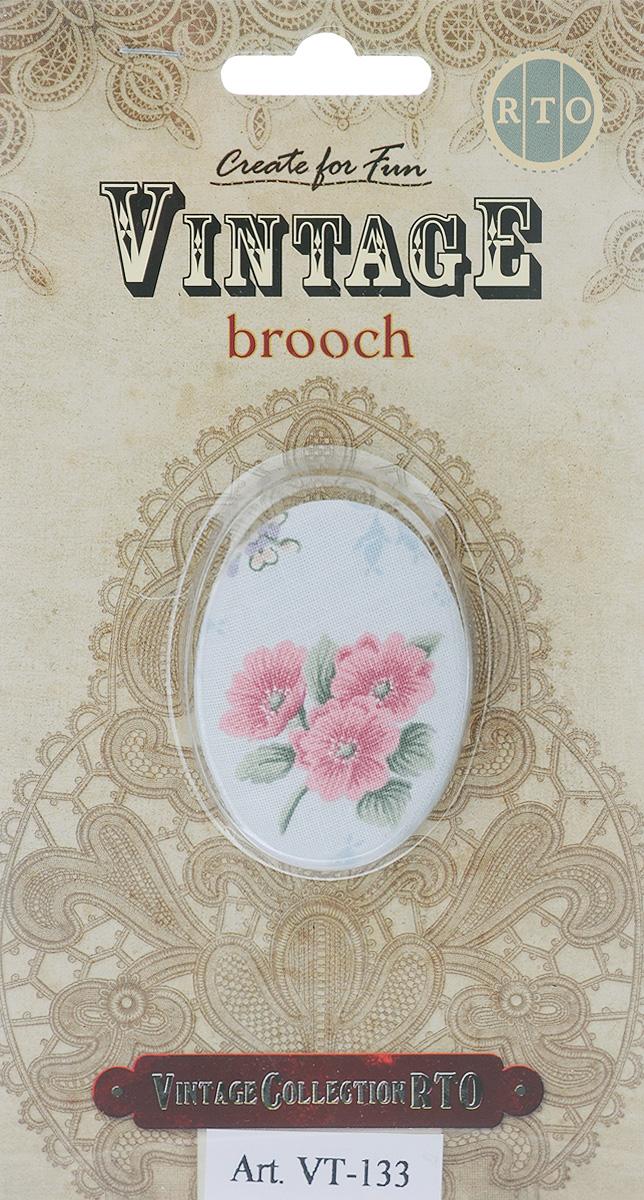 "RTO / РТО Брошь RTO ""Vintage. Brooch"", цвет: светло-серый, розовый, зеленый, 6 х 4 см. VT-133"