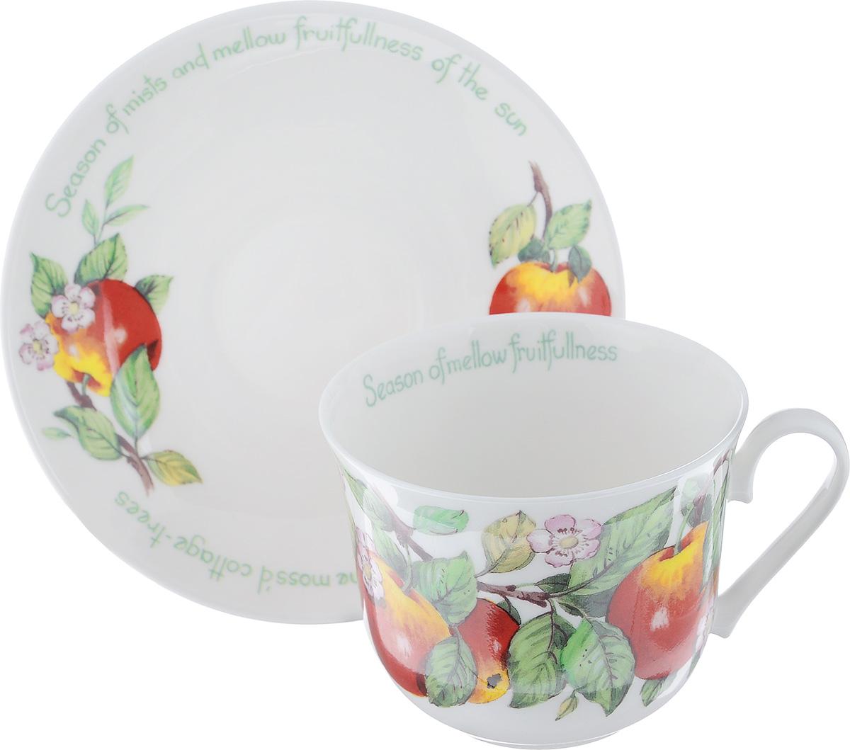 Чайная пара Roy Kirkham Фрукты, 2 предметаXMELFR1100Чайная пара Roy Kirkham Фрукты состоит из чашки и блюдца, изготовленных из тонкостенного костяного фарфора высшего качества, отличающегося необыкновенной прочностью и небольшим весом. Изделия оформлены цветным рисунком. Яркий дизайн, несомненно, придется вам по вкусу. Чайная пара Roy Kirkham Фрукты украсит ваш кухонный стол, а также станет замечательным подарком к любому празднику. Объем чашки: 500 мл. Диаметр чашки по верхнему краю: 10,5 см. Высота чашки: 8,5 см. Диаметр блюдца: 17 см. Высота блюдца: 2,5 см.