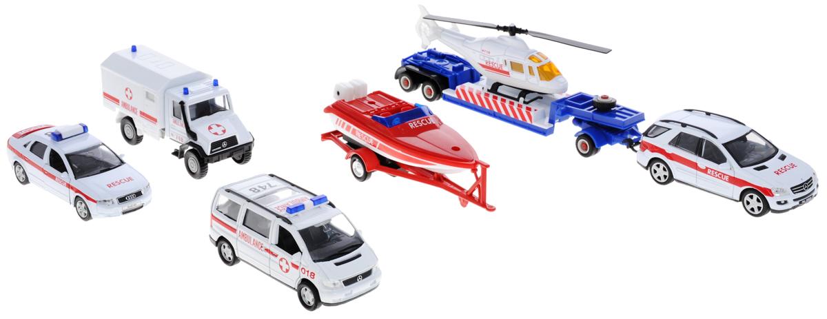 Welly Игровой набор Служба спасения 9 предметов99610-6CИгровой набор Welly Служба спасения представляет собой 9 реалистичных моделей, выполненных в виде точных копий спасательной техники. Набор включает в себя вертолет, катер, седан, минивэн, хетчбэк, грузовик и 3 прицепа. Модели отличаются высоким качеством исполнения и детализации. Корпус моделей выполнен из металла, стекла изготовлены из прочного прозрачного пластика. Колеса машинок и лопасти вертолета вращаются. Дверцы минивэна, седана и хетчбэка открываются. Ваш ребенок часами будет играть с набором, придумывая различные истории. Порадуйте его таким замечательным подарком!