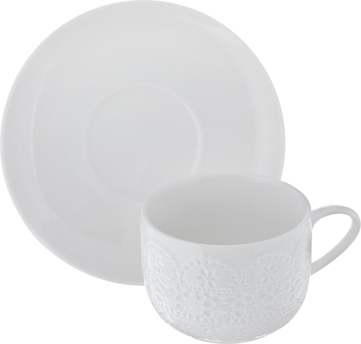 Чайная пара Walmer Charlotte, цвет: белый, 2 предметаW07370025Чайная пара Walmer Charlotte состоит из чашки и блюдца, изготовленных из высококачественного фарфора и декорированных оригинальным рельефом. Чайная пара украсит ваш кухонный стол, а также станет замечательным подарком к любому празднику. Не применять абразивные чистящие средства. Объем чашки: 250 мл. Диаметр чашки по верхнему краю: 8,5 см. Диаметр основания: 5,5 см. Высота чашки: 6,5 см. Диаметр блюдца: 15,5 см.