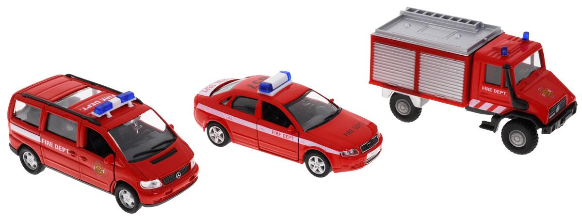Welly Набор машинок Пожарная служба 3 шт99610-3CНабор машинок Welly Пожарная служба представляет собой 3 реалистичные модели, выполненные в виде точных копий пожарной техники. Набор включает в себя минивэн, седан и грузовик. Модели отличаются высоким качеством исполнения и детализации. Корпус моделей выполнен из металла, стекла изготовлены из прочного прозрачного пластика. Колеса машинок вращаются, дверцы минивэна и седана открываются. Ваш ребенок часами будет играть с набором, придумывая различные истории. Порадуйте его таким замечательным подарком!