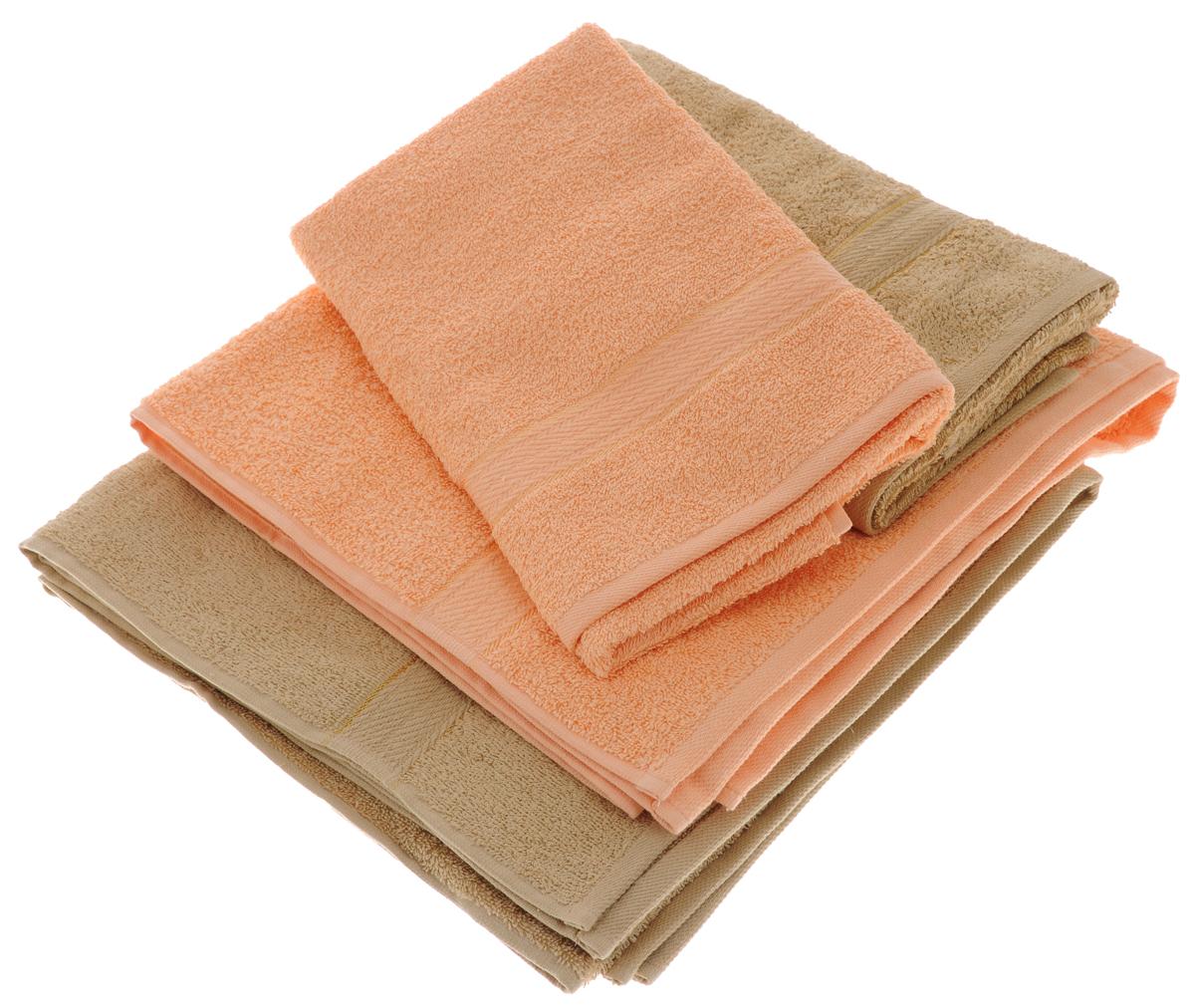 Набор махровых полотенец Aisha Home Textile, цвет: светло-коричневый, персиковый, 4 штУзТ-ПМ-103-23-24Набор Aisha Home Textile состоит из двух полотенец 50 х 90 см и двух банных 70 х 140 см. Полотенца выполнены из натурального 100% хлопка и махровой ткани. Изделия отлично впитывают влагу, быстро сохнут, сохраняют яркость цвета и не теряют формы даже после многократных стирок. Полотенца Aisha Home Textile очень практичны и неприхотливы в уходе. Комплектация: 4 шт.