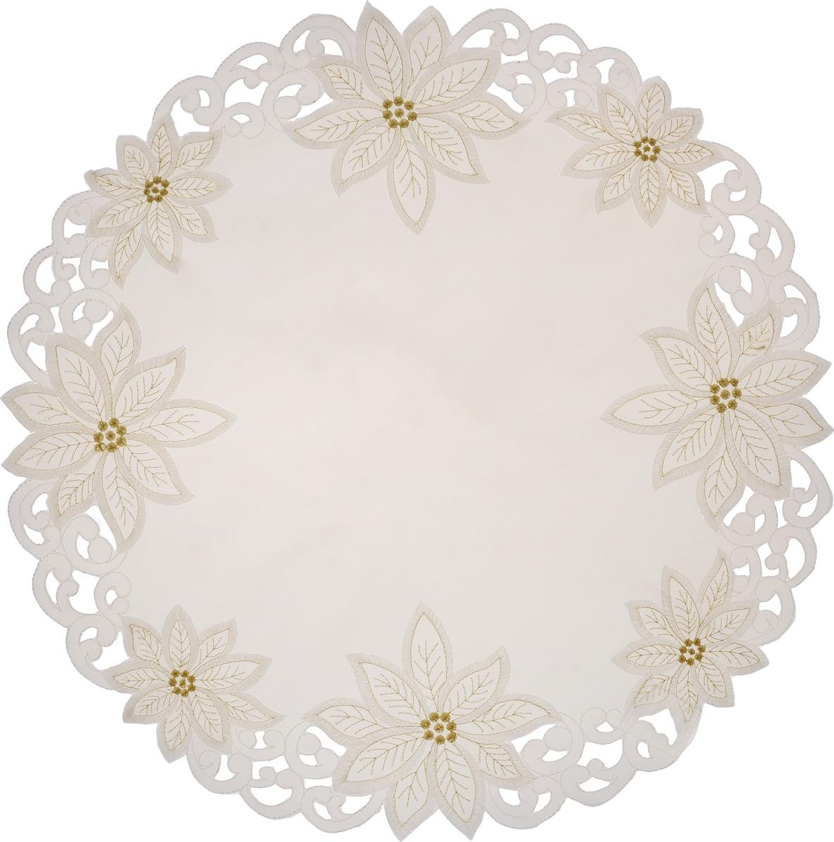Салфетка Schaefer, круглая, цвет: молочный, золотой, диаметр 60 см. 07330-350-0307330-350-03Круглая салфетка Schaefer, выполненная из полиэстера, оформлена вышивками шелком по краю в виде цветов. Дизайнерские идеи немецких художников компании Schaefer воплощаются в текстильных изделиях, которые сделают ваш дом красивее и уютнее и не останутся незамеченными вашими гостями. Дарите себе и близким красоту каждый день! Диаметр салфетки: 60 см.