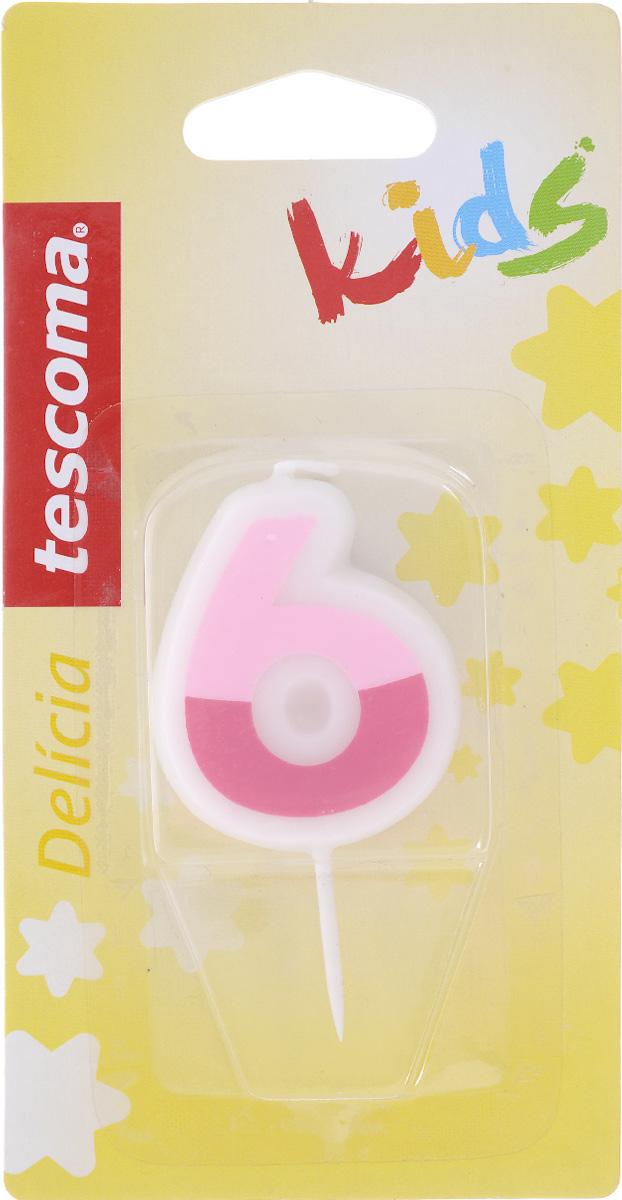 Свеча для торта Tescoma Delicia Kids, шестерка, цвет: белый, розовый630976Свеча для торта Tescoma Delicia Kids изготовлена из высококачественного парафина, фитиль - натуральное волокно. Это отличное решение для декорирования торта к празднику. Ее можно комбинировать с другими цифрами. Изделие хорошо и долго горит. С этой свечой ваш праздник станет еще удивительнее и веселее. Высота свечи (без учета иглы): 4,5 см.