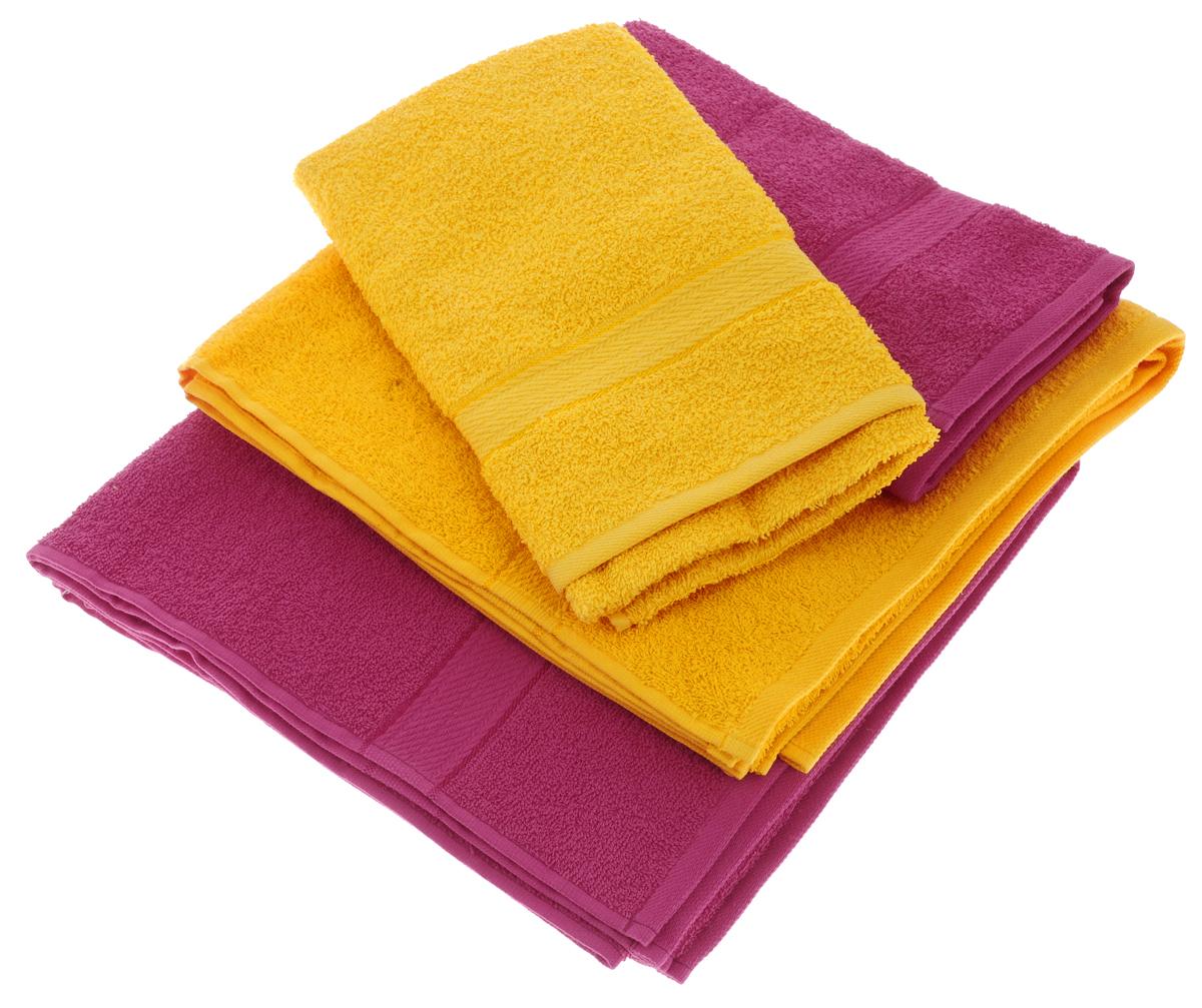Набор махровых полотенец Aisha Home Textile, цвет: желтый, малиновый, 4 штУзТ-ПМ-103-21-28Набор Aisha Home Textile состоит из двух полотенец 50 х 90 см и двух банных 70 х 140 см. Полотенца выполнены из натурального 100% хлопка и махровой ткани. Изделия отлично впитывают влагу, быстро сохнут, сохраняют яркость цвета и не теряют формы даже после многократных стирок. Полотенца Aisha Home Textile очень практичны и неприхотливы в уходе. Комплектация: 4 шт.