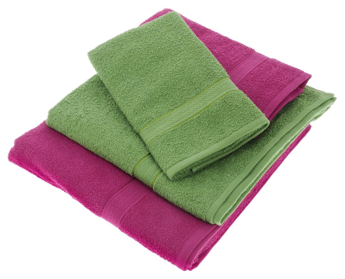 Набор махровых полотенец Aisha Home Textile, цвет: зеленый, малиновый, 4 шт