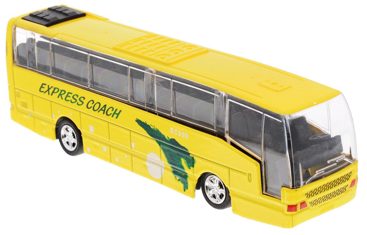 Big Motors Автобус инерционный Cheerful Bus цвет желтый27893-80136L;XL80136LИнерционный автобус Big motors Cheerful Bus, выполненный из пластика и металла, станет любимой игрушкой вашего малыша. Игрушка представляет собой модель автобуса с надписью Express Coach. При нажатии на крышу замигает внутренняя подсветка, раздастся звук работающего двигателя и веселая музыка. Игрушка оснащена инерционным ходом. Автобус необходимо отвести назад, затем отпустить - и он быстро поедет вперед. Прорезиненные колеса обеспечивают надежное сцепление с любой гладкой поверхностью. Ваш ребенок будет часами играть с этой игрушкой, придумывая различные истории. Порадуйте его таким замечательным подарком! Для работы игрушки необходимы 3 батарейки типа LR44 (товар комплектуется демонстрационными).