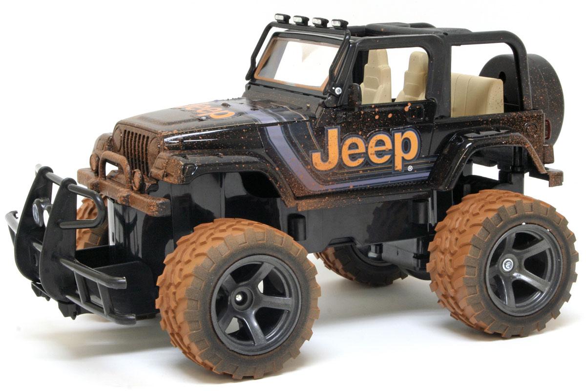 New Bright Радиоуправляемая модель Jeep Wrangler цвет коричневый черный масштаб 1:151579Культовый американский автомобиль Jeep Wrangler обязательно привлечет ваше внимание. Маневренная и реалистичная уменьшенная копия New Bright Jeep Wrangler выполнена в точной детализации с настоящим автомобилем в масштабе 1:15. Управление машиной происходит с помощью пульта. Пульт управления работает на частоте 27 MHz. Внедорожник двигается вперед и назад, поворачивает направо и налево. Колеса игрушки прорезинены и обеспечивают плавный ход, машина не портит напольное покрытие. Радиоуправляемые игрушки способствуют развитию координации движений, моторики и ловкости. Ваш ребенок часами будет играть с моделью, придумывая различные истории и устраивая соревнования. Порадуйте его таким замечательным подарком! Для работы машины необходимо купить 5 батареек типа АА (не входят в комплект), для работы пульта управления необходимо купить 2 батарейки типа АА (не входят в комплект).