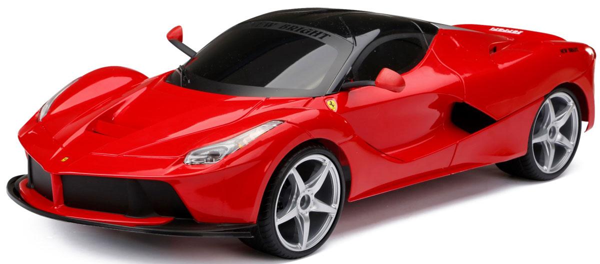 New Bright Радиоуправляемая модель La Ferrari масштаб 1:860647Глядя фильмы про суперагентов, каждый мальчик мечтает обладать супер каром. Теперь у вас есть такая возможность. Масштаб 1:8, светящиеся фары и задние фонари, звук клаксона, и ни с чем несравнимый звук мощного двигателя. Если вы уверены, что справитесь с этой мощью, вперед на гонки! Игрушка Суперкар Р/У 1:8 La Ferrari