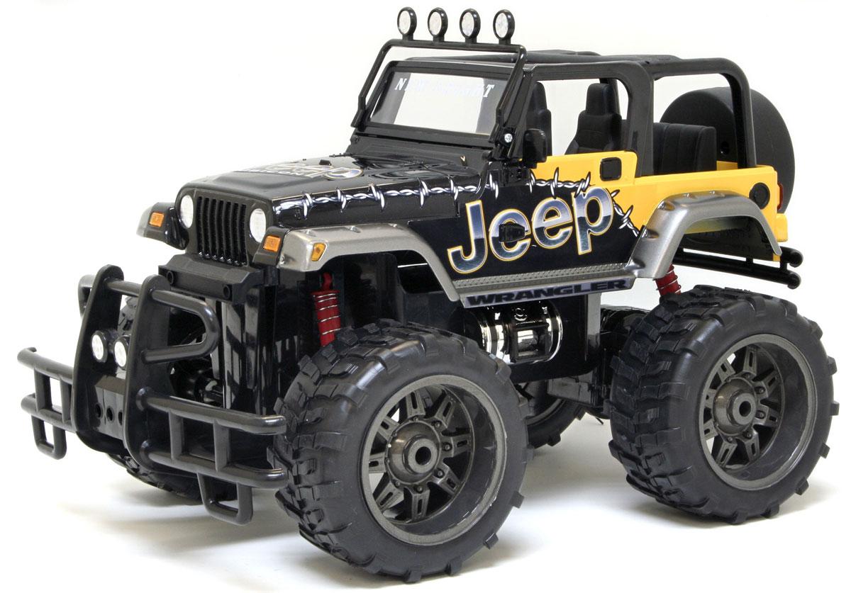 New Bright Радиоуправляемая модель Jeep Wrangler Rubicon61099JРадиоуправляемая модель New Bright Jeep Wrangler Rubicon привлечет к себе внимание не только детей, но и взрослых. Внедорожник оснащен полным приводом и имеет пружинную подвеску. Модель представлена в масштабе 1:10 и в точности воспроизводит все детали внешнего облика реального автомобиля. А серьезные габариты придают реалистичность в управлении. Управление авто происходит с помощью пульта. Машина двигается вперед и назад, поворачивает направо и налево. Пульт управления работает на частоте 40 MHz. Колеса игрушки прорезинены и обеспечивают плавный ход, машинка не портит напольное покрытие. Радиоуправляемые игрушки способствуют развитию координации движений, моторики и ловкости. Порадуйте свое чадо таким замечательным подарком! Машина работает от аккумулятора - 9,6V (входит в комплект), пульт управления работает от 2 батареек типа АА (имеются в наборе). Зарядное устройство для зарядки аккумулятора также входит в комплект. Зарядка ...