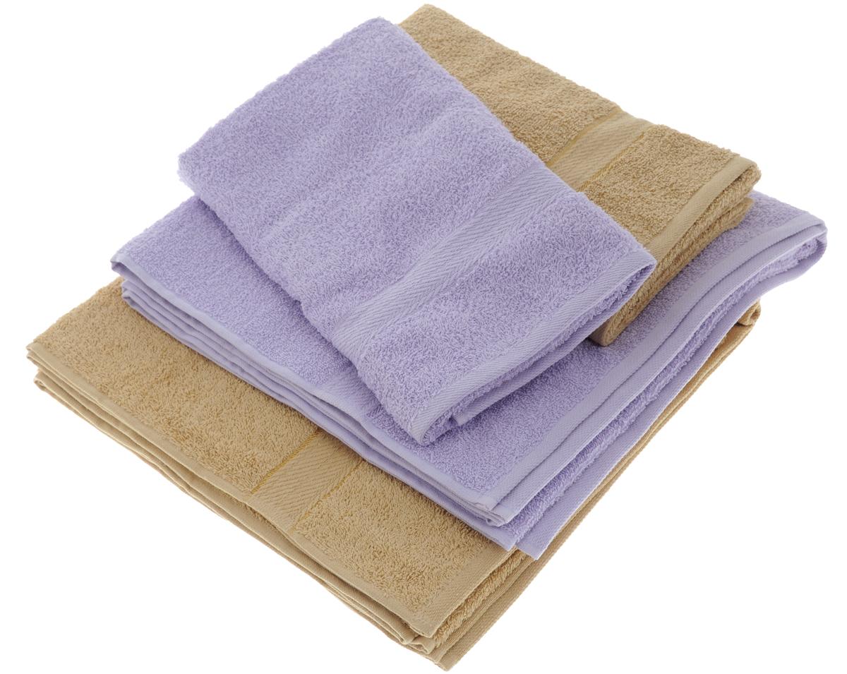 Набор махровых полотенец Aisha Home Textile, цвет: светло-коричневый, сиреневый, 4 штУзТ-ПМ-103-23-05Набор Aisha Home Textile состоит из двух полотенец 50 х 90 см и двух банных 70 х 140 см. Полотенца выполнены из натурального 100% хлопка и махровой ткани. Изделия отлично впитывают влагу, быстро сохнут, сохраняют яркость цвета и не теряют формы даже после многократных стирок. Полотенца Aisha Home Textile очень практичны и неприхотливы в уходе. Комплектация: 4 шт.