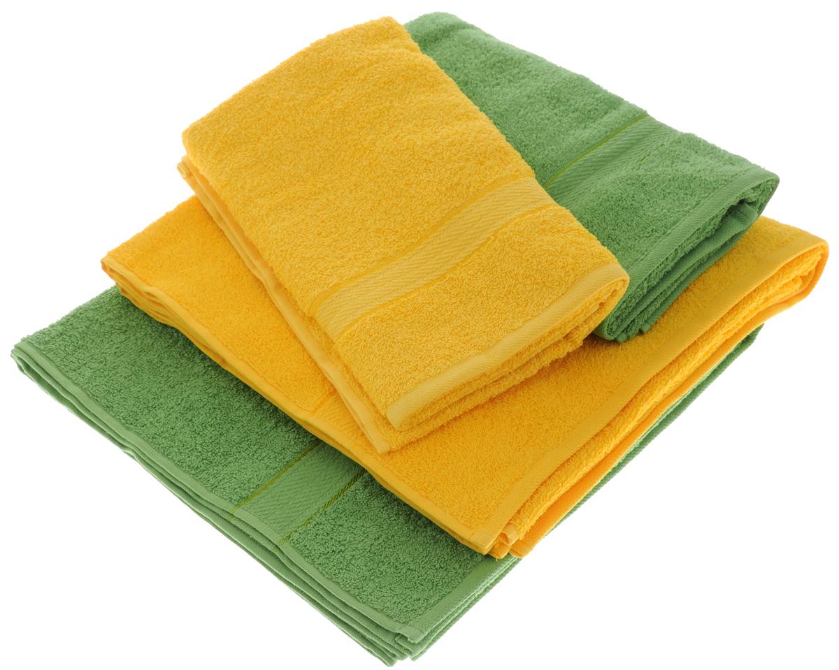 Набор махровых полотенец Aisha Home Textile, цвет: желтый, зеленый, 4 штУзТ-ПМ-103-21-08Набор Aisha Home Textile состоит из двух полотенец 50 х 90 см и двух банных 70 х 140 см. Полотенца выполнены из натурального 100% хлопка и махровой ткани. Изделия отлично впитывают влагу, быстро сохнут, сохраняют яркость цвета и не теряют формы даже после многократных стирок. Полотенца Aisha Home Textile очень практичны и неприхотливы в уходе. Комплектация: 4 шт.
