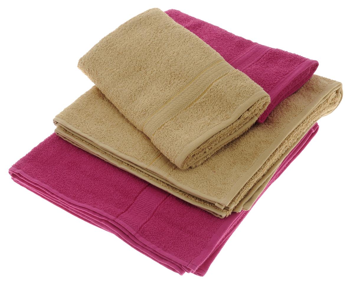 Набор махровых полотенец Aisha Home Textile, цвет: светло-коричневый, малиновый, 4 штУзТ-ПМ-103-23-28Набор Aisha Home Textile состоит из двух полотенец 50 х 90 см и двух банных 70 х 140 см. Полотенца выполнены из натурального 100% хлопка и махровой ткани. Изделия отлично впитывают влагу, быстро сохнут, сохраняют яркость цвета и не теряют формы даже после многократных стирок. Полотенца Aisha Home Textile очень практичны и неприхотливы в уходе. Комплектация: 4 шт.