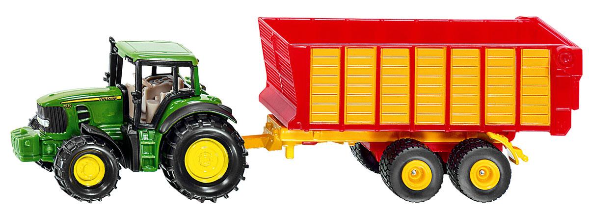 Siku Трактор John Deere с прицепом для силоса1650Коллекционная модель Siku трактор с прицепом для силоса John Deere выполнена в виде уменьшенной копии настоящей машины. Такая модель понравится не только ребенку, но и взрослому коллекционеру, и приятно удивит вас высочайшим качеством исполнения. Игрушка выполнена в виде трактора зеленого цвета с открытым прицепом желто-красного цвета. Прицеп может легко отсоединяться от трактора. Трактор выполнен из металла, прицеп и некоторые детали - из пластика. Коллекционная модель станет не только интересной игрушкой для ребенка, но и займет достойное место в коллекции.