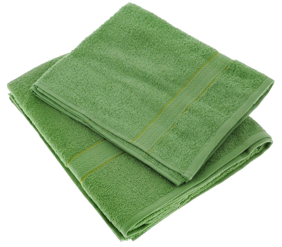 Набор махровых полотенец Aisha Home Textile, цвет: зеленый, 2 шт. УзТ-НПМ-102УзТ-НПМ-102-08Набор Aisha Home Textile состоит из двух махровых полотенец разного размера. В состав входит только натуральное волокно - 100% хлопок. Лаконичные бордюры подойдут для любого интерьера ванной комнаты. Полотенца прекрасно впитывают влагу и быстро сохнут. При соблюдении рекомендаций по уходу не линяют и не теряют форму даже после многократных стирок. Комплектация: 2 шт.