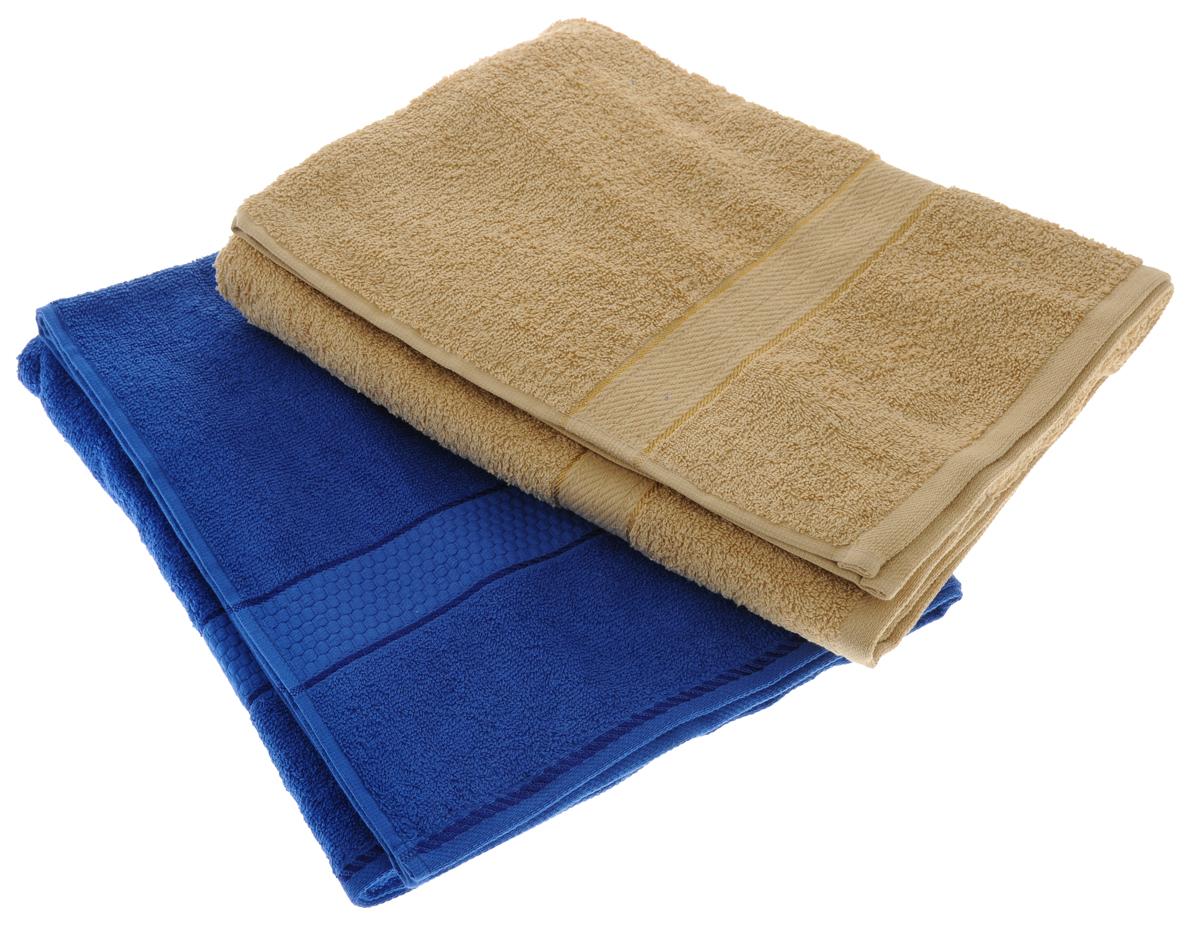 Набор махровых полотенец Aisha Home Textile, цвет: светло-коричневый, синий, 70 х 140 см, 2 штУзТ-ПМ-104-23-19Набор Aisha Home Textile состоит из двух махровых полотенец, выполненных из натурального 100% хлопка. Изделия отлично впитывают влагу, быстро сохнут, сохраняют яркость цвета и не теряют формы даже после многократных стирок. Полотенца Aisha Home Textile очень практичны и неприхотливы в уходе. Комплектация: 2 шт.