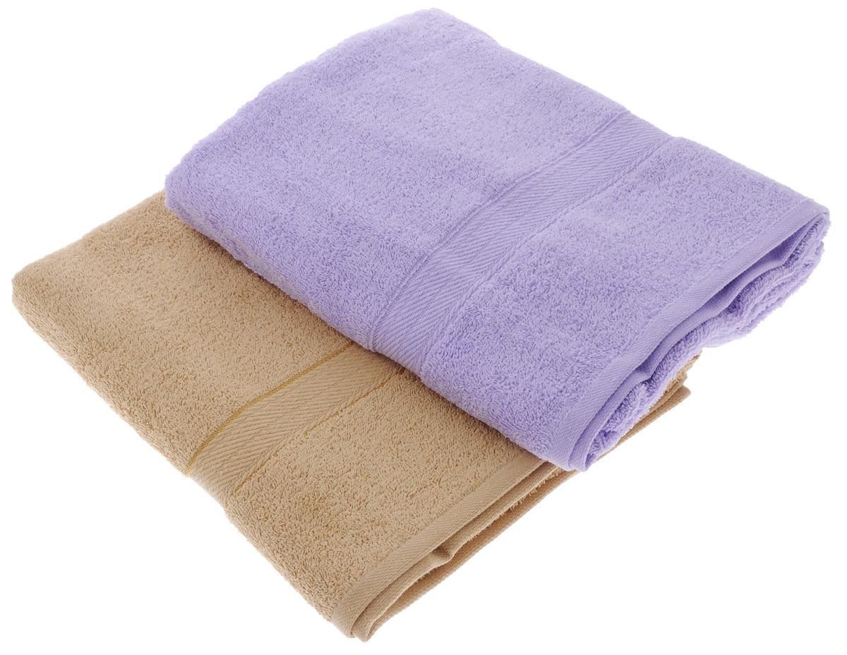 Набор махровых полотенец Aisha Home Textile, цвет: светло-коричневый, сиреневый, 70 х 140 см, 2 штУзТ-ПМ-104-23-05Набор Aisha Home Textile состоит из двух махровых полотенец, выполненных из натурального 100% хлопка. Изделия отлично впитывают влагу, быстро сохнут, сохраняют яркость цвета и не теряют формы даже после многократных стирок. Полотенца Aisha Home Textile очень практичны и неприхотливы в уходе. Комплектация: 2 шт.
