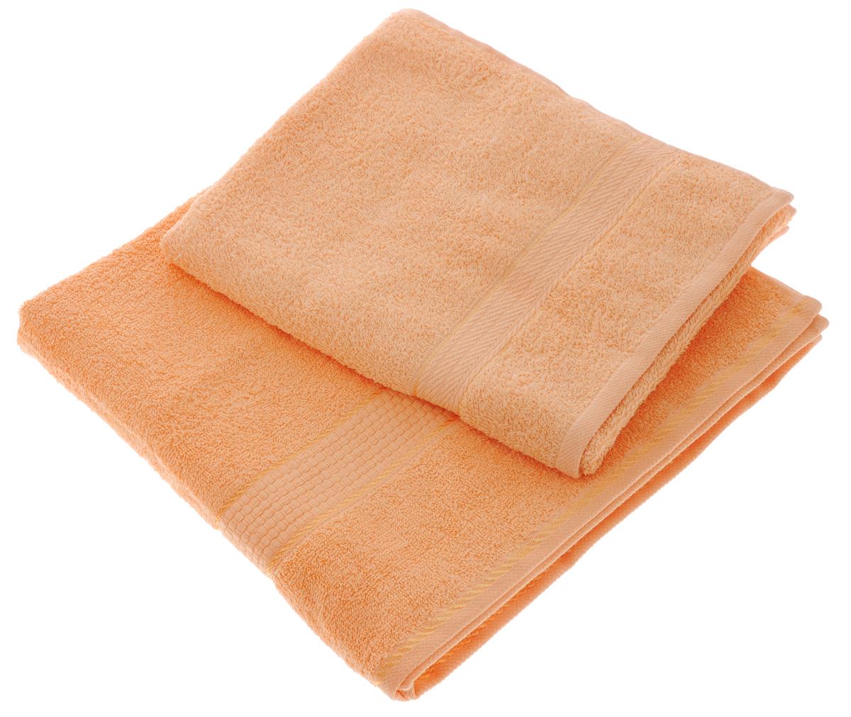 Набор махровых полотенец Aisha Home Textile, цвет: персиковый, 2 шт. УзТ-НПМ-102УзТ-НПМ-102-24Набор Aisha Home Textile состоит из двух махровых полотенец разного размера. В состав входит только натуральное волокно - 100% хлопок. Лаконичные бордюры подойдут для любого интерьера ванной комнаты. Полотенца прекрасно впитывают влагу и быстро сохнут. При соблюдении рекомендаций по уходу не линяют и не теряют форму даже после многократных стирок. Комплектация: 2 шт.
