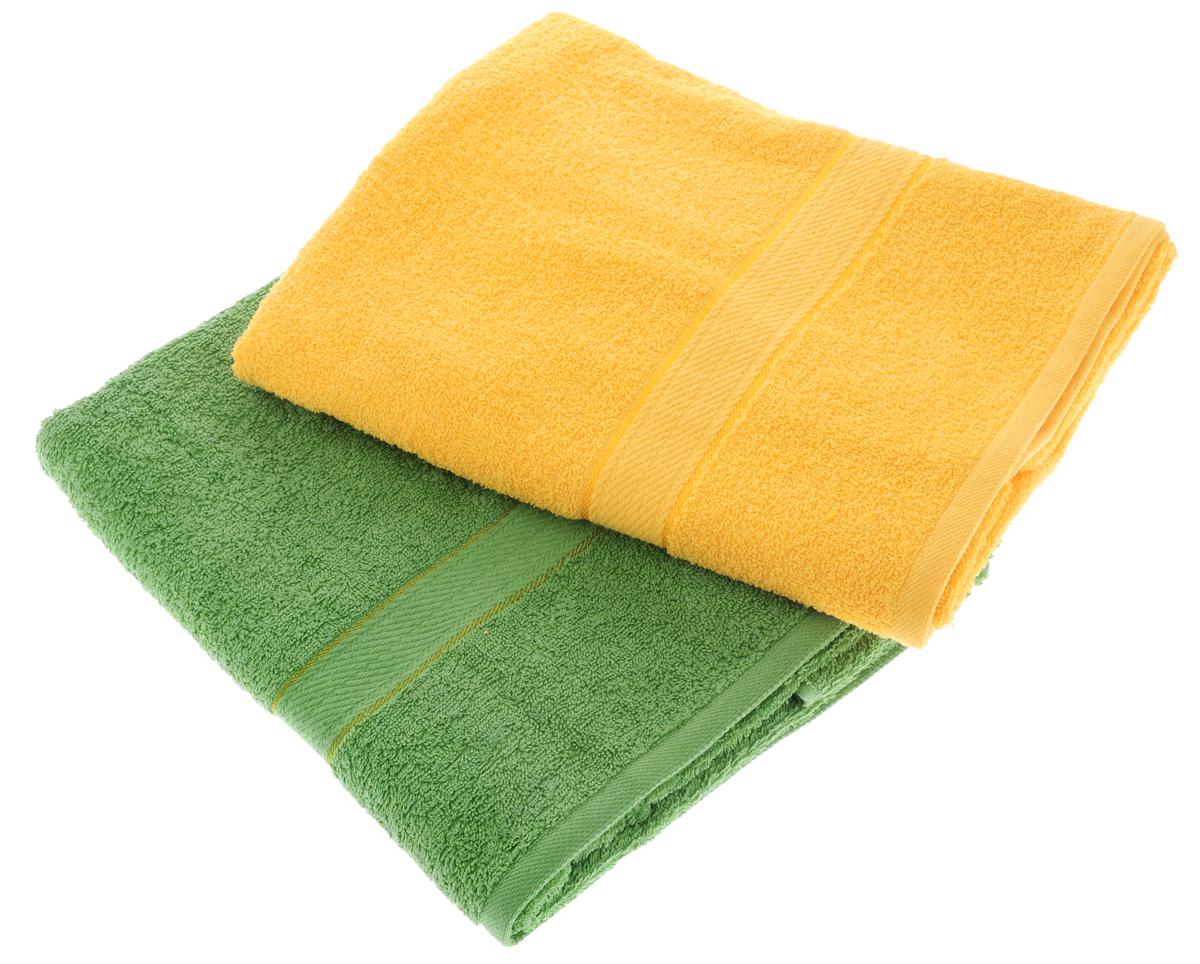 Набор махровых полотенец Aisha Home Textile, цвет: желтый, зеленый, 70 х 140 см, 2 штУзТ-ПМ-104-21-08Набор Aisha Home Textile состоит из двух махровых полотенец, выполненных из натурального 100% хлопка. Изделия отлично впитывают влагу, быстро сохнут, сохраняют яркость цвета и не теряют формы даже после многократных стирок. Полотенца Aisha Home Textile очень практичны и неприхотливы в уходе. Комплектация: 2 шт.