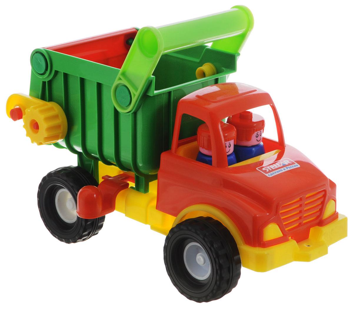Stellar Грузовик цвет красный зеленый01401Грузовик-самосвал Stellar отлично подойдет ребенку для различных игр. Вместительный кузов машины поднимается и опускается, задняя стенка кузова открывается. В кабине без стекол находятся две фигурки. Большие ребристые колеса обеспечивают машине устойчивость и хорошую проходимость. А еще машину можно возить за веревочку - для этого предусмотрено отверстие на бампере грузовика. Грузовик выполнен из прочного пластика, который позволяет выдерживать большие нагрузки. Ваш юный строитель сможет прекрасно провести время дома или на улице, подвозя к месту игрушечной стройки необходимые предметы на этом красочном грузовике.