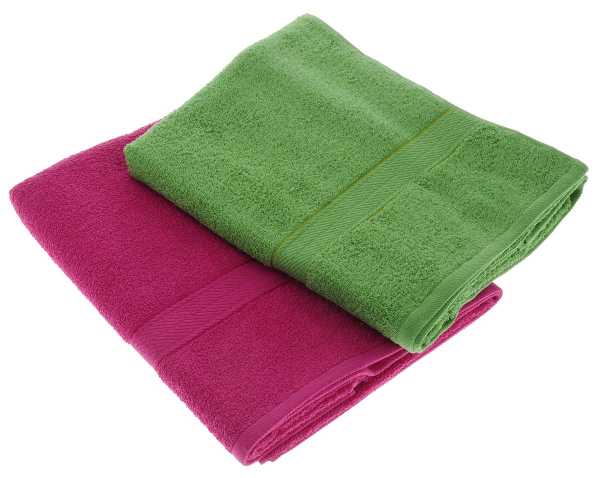 Набор махровых полотенец Aisha Home Textile, цвет: зеленый, малиновый, 70 х 140 см, 2 штУзТ-ПМ-104-08-28Набор Aisha Home Textile состоит из двух махровых полотенец, выполненных из натурального 100% хлопка. Изделия отлично впитывают влагу, быстро сохнут, сохраняют яркость цвета и не теряют формы даже после многократных стирок. Полотенца Aisha Home Textile очень практичны и неприхотливы в уходе. Комплектация: 2 шт.