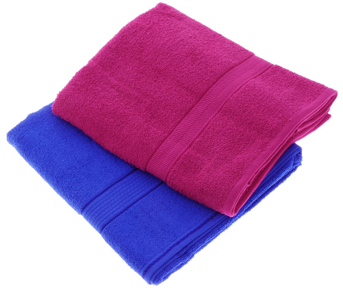 Набор махровых полотенец Aisha Home Textile, цвет: малиновый, синий, 70 х 140 см, 2 штУзТ-ПМ-104-28-19Набор Aisha Home Textile состоит из двух махровых полотенец, выполненных из натурального 100% хлопка. Изделия отлично впитывают влагу, быстро сохнут, сохраняют яркость цвета и не теряют формы даже после многократных стирок. Полотенца Aisha Home Textile очень практичны и неприхотливы в уходе. Комплектация: 2 шт.