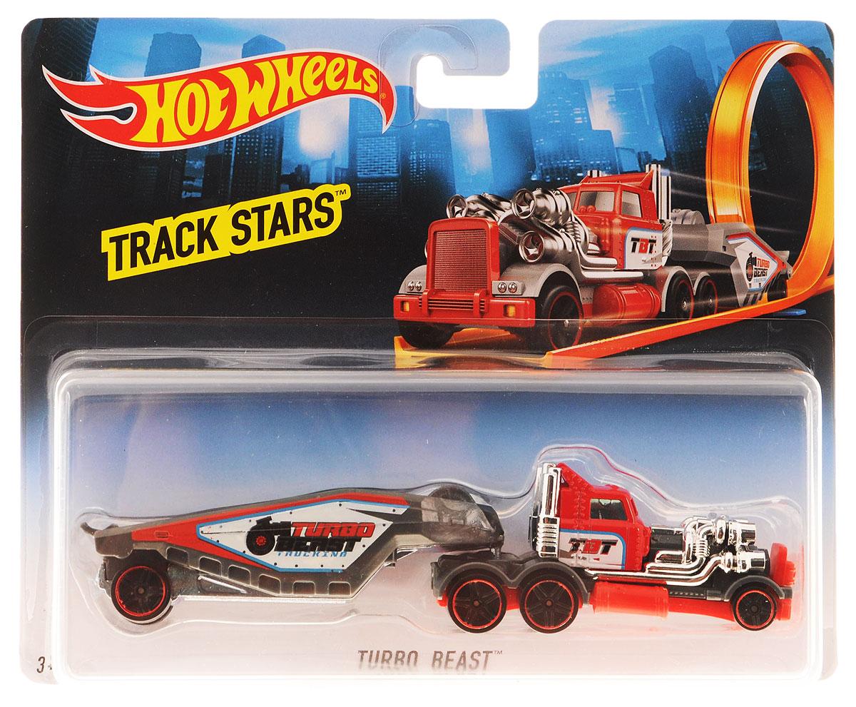 Hot Wheels Track Stars Трейлер Turbo Beast цвет красный серыйBFM60_CGJ41-D813 19AТрейлеры Hot Wheels готовы к гонкам! Мальчикам понравится их коллекционировать, ведь модели можно комбинировать, меняя кабины и прицепы между другими грузовиками серии. Благодаря ярким цветам и реалистичности трейлеры готовы покорять новые дороги! В комплект входит машинка и трейлер. Ваш ребенок часами будет играть с машинками, придумывая различные истории и устраивая соревнования. Порадуйте его таким замечательным подарком!