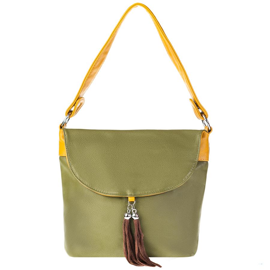 Сумка женская Orsa Oro, цвет: зеленый, желтый. D-104/16D-104/16Стильная женская сумка Orsa Oro выполнена из искусственной кожи с зернистой фактурой, декорирована оригинальной подвеской. Изделие содержит одно отделение, которое закрывается на молнию. Внутри расположены четыре накладных кармашка для мелочей, один из которых закрывается на молнию, и врезной карман на молнии. Снаружи, на лицевой стороне изделия, расположен клапан, под которым размещен врезной карман на молнии. Задняя сторона сумки также дополнена клапаном и врезным карманом на молнии. Сумка оснащена практичной съемной лямкой и съемным плечевым ремнем регулируемой длины. Оригинальный аксессуар позволит вам завершить образ и быть неотразимой.