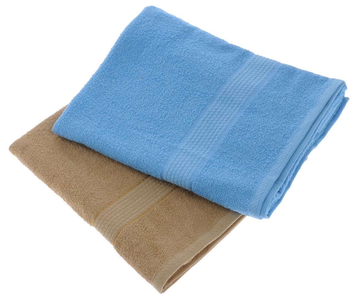 Набор махровых полотенец Aisha Home Textile, цвет: светло-коричневый, голубой, 70 х 140 см, 2 штУзТ-ПМ-104-23-06Набор Aisha Home Textile состоит из двух махровых полотенец, выполненных из натурального 100% хлопка. Изделия отлично впитывают влагу, быстро сохнут, сохраняют яркость цвета и не теряют формы даже после многократных стирок. Полотенца Aisha Home Textile очень практичны и неприхотливы в уходе. Комплектация: 2 шт.