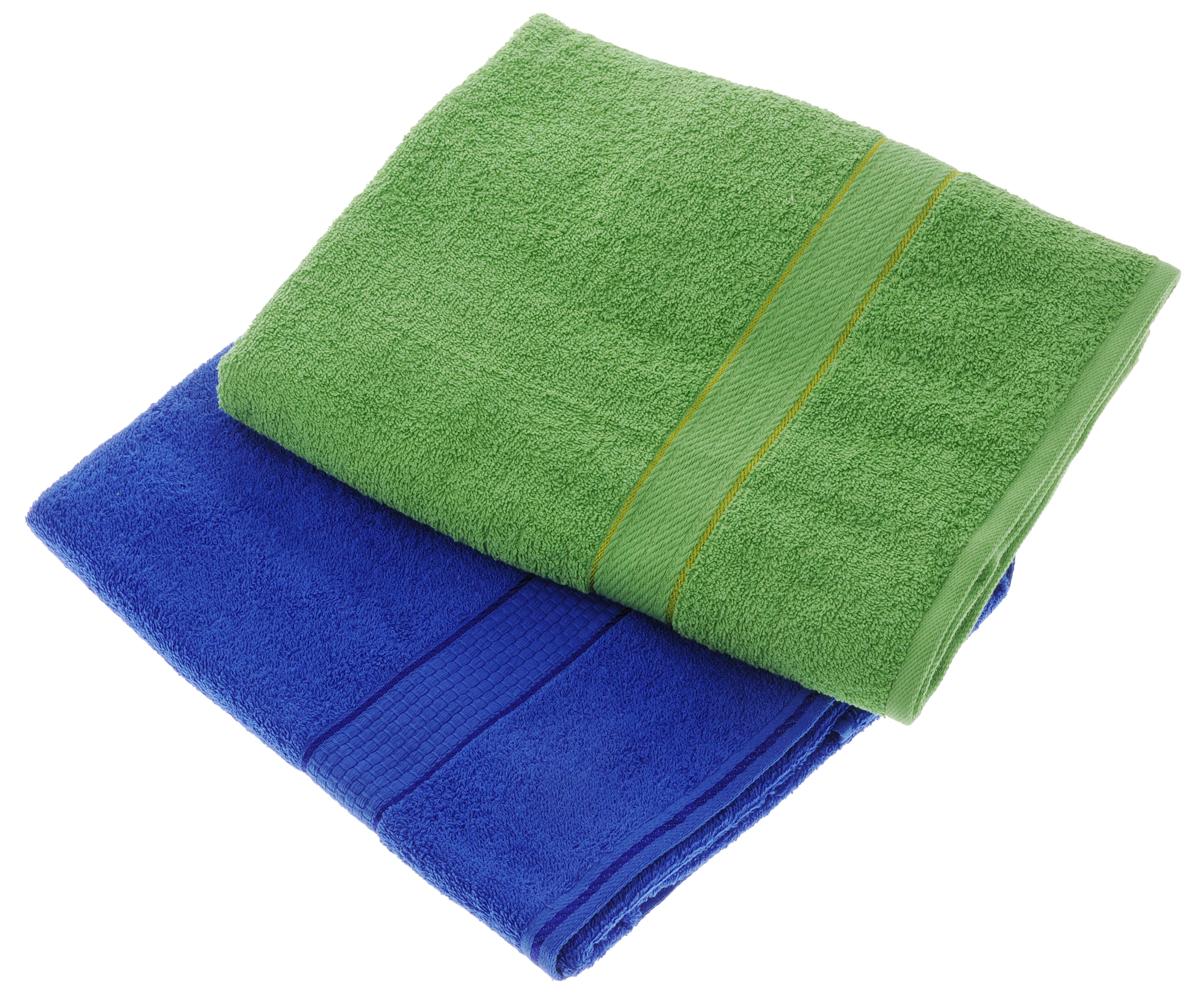 Набор махровых полотенец Aisha Home Textile, цвет: зеленый, синий, 70 х 140 см, 2 штУзТ-ПМ-104-08-19Набор Aisha Home Textile состоит из двух махровых полотенец, выполненных из натурального 100% хлопка. Изделия отлично впитывают влагу, быстро сохнут, сохраняют яркость цвета и не теряют формы даже после многократных стирок. Полотенца Aisha Home Textile очень практичны и неприхотливы в уходе. Комплектация: 2 шт.