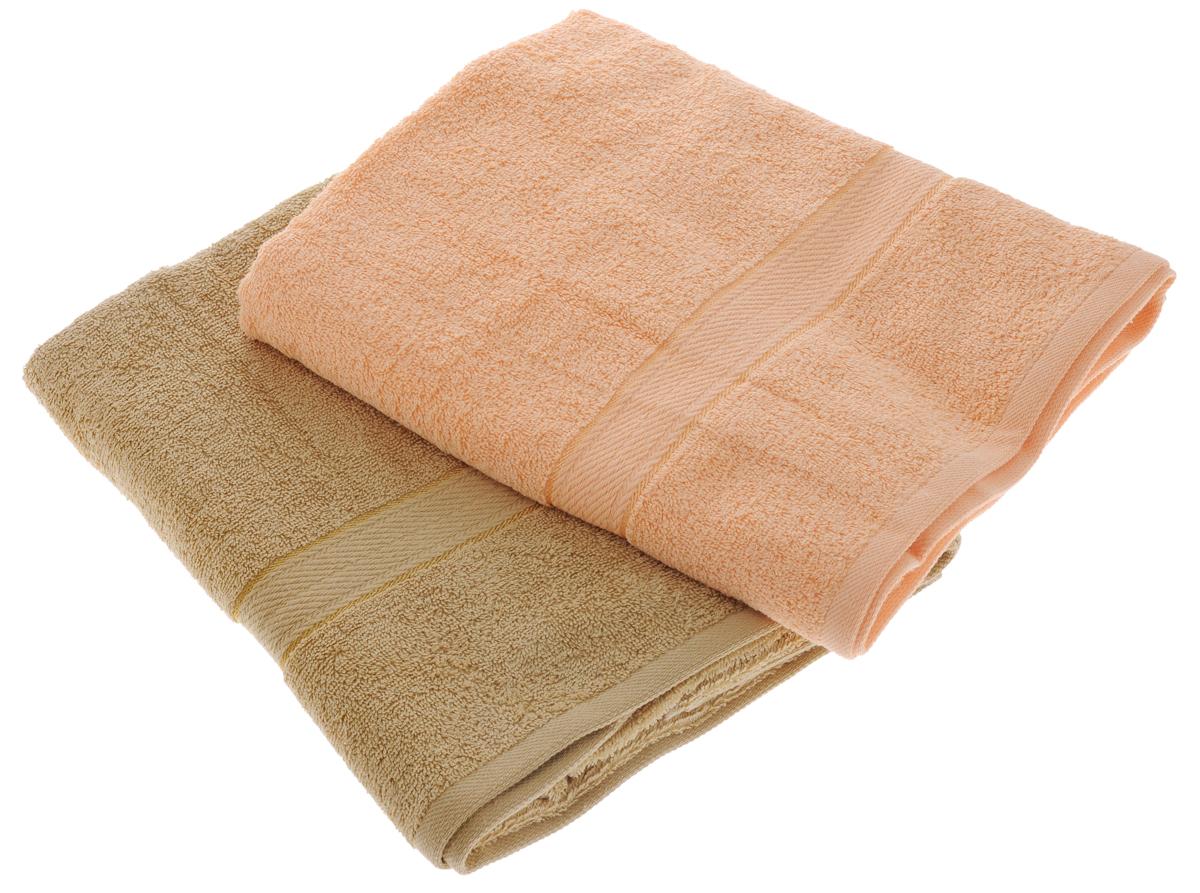 Набор махровых полотенец Aisha Home Textile, цвет: светло-коричневый, персиковый, 70 х 140 см, 2 штУзТ-ПМ-104-23-24Набор Aisha Home Textile состоит из двух махровых полотенец, выполненных из натурального 100% хлопка. Изделия отлично впитывают влагу, быстро сохнут, сохраняют яркость цвета и не теряют формы даже после многократных стирок. Полотенца Aisha Home Textile очень практичны и неприхотливы в уходе. Комплектация: 2 шт.
