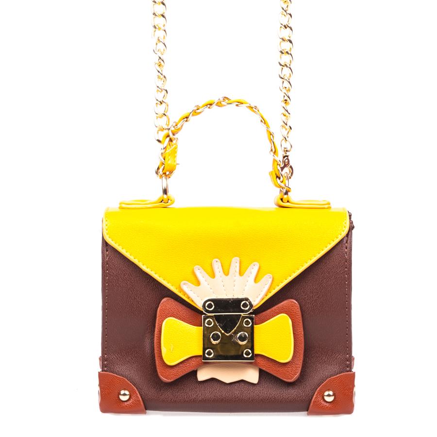Сумка женская Orsa Oro, цвет: коричневый, желтый. D-130/6D-130/6Стильная женская сумка Orsa Oro выполнена из искусственной кожи, оформлена декоративным элементом и металлической фурнитурой. Изделие содержит одно отделение, которое закрывается на молнию и дополнительно на клапан с защелкой. Внутри расположены: два накладных кармашка для мелочей и врезной карман на молнии. На задней стороне изделия расположен накладной кармашек. Сумка оснащена съемным плечевым ремнем-цепочкой и аккуратной ручкой. Дно сумки дополнено металлическими ножками. Оригинальный аксессуар позволит вам завершить образ и быть неотразимой.
