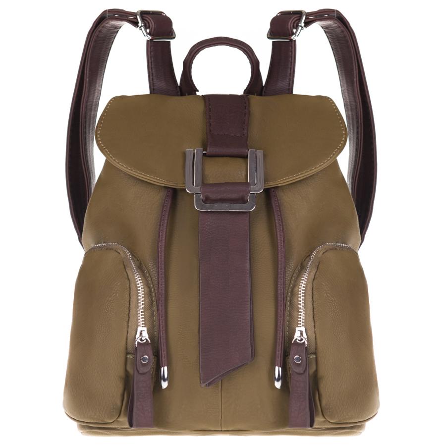 Рюкзак женский Orsa Oro, цвет: коричневый, зеленый. D-136/15D-136/15Стильный женский рюкзак Orsa Oro выполнен из искусственной кожи, оформлен металлической фурнитурой. Изделие содержит отделение, закрывающееся с помощью шнурка и клапана с магнитной кнопкой. Внутри расположены: накладной карман для мелочей и врезной карман на молнии. Лицевая сторона рюкзака дополнена двумя накладными кармашками, каждый из которых закрывается на застежку-молнию. Задняя сторона изделия дополнена врезным карманом на застежке-молнии. Рюкзак оснащен удобными лямками регулируемой длины, а также петлей для подвешивания. Оригинальный аксессуар позволит вам завершить образ и быть неотразимой.