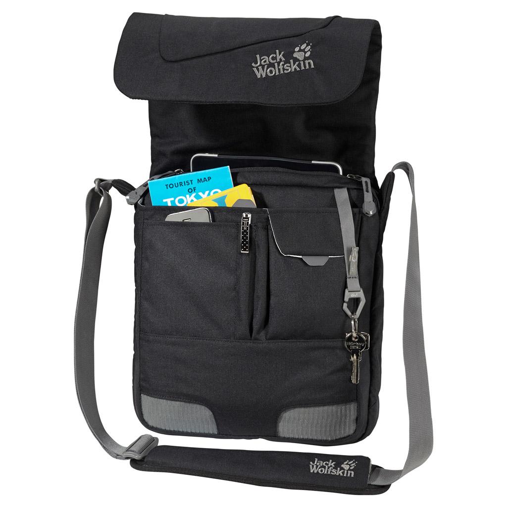 Сумка на плечо Jack Wolfskin REDFERN, цвет: черный, 10 л. 2003681-60002003681-6000Маленькая курьерская сумка с отделением для планшетного компьютера