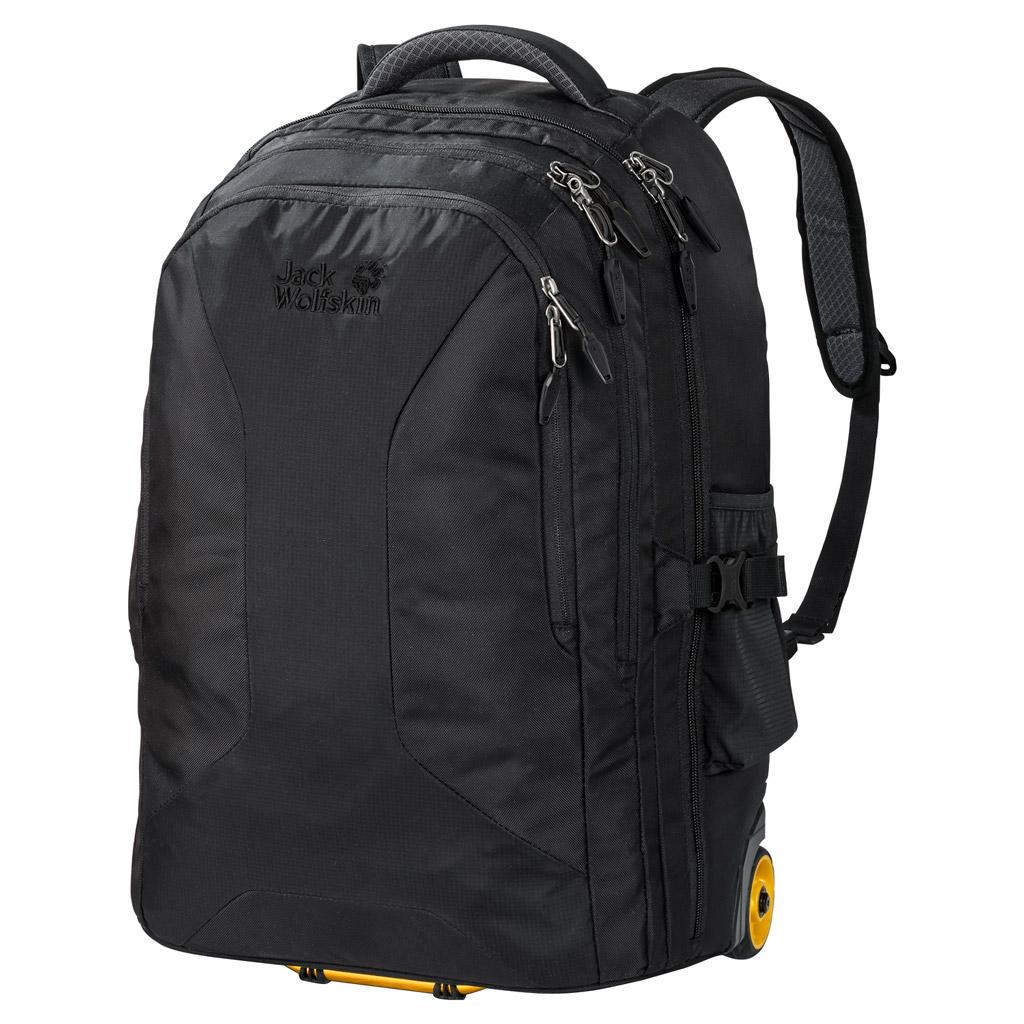Рюкзак на колесах Jack Wolfskin Weekender 35, цвет: черный. 2004841-60002004841-6000Прочный водоотталкивающий рюкзак Jack Wolfskin на колесиках выполнен в полиамид. Модель с убирающейся поддерживающей системой