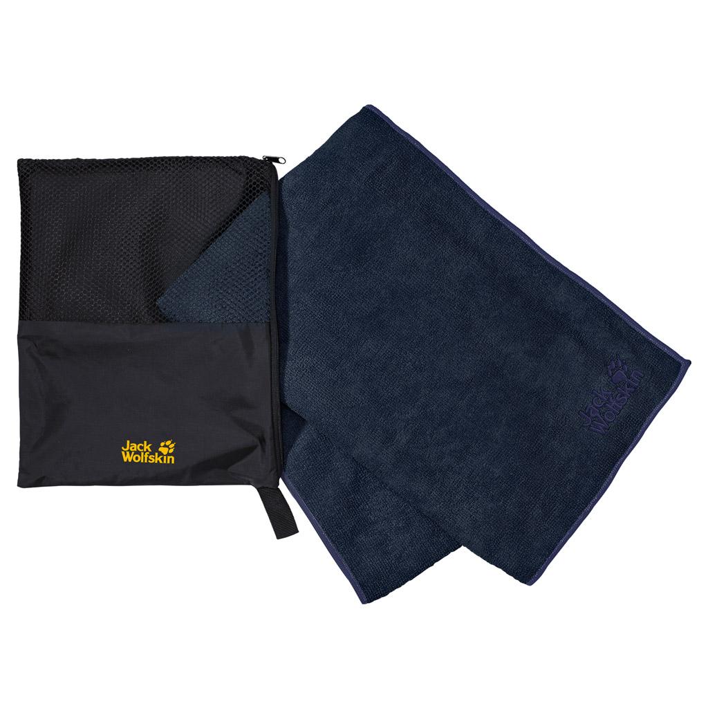 Полотенце спортивное Jack Wolfskin WOLFTOWEL TERRY XL, цвет: темно-синий. 80103-101080103-1010Очень большое, быстросохнущее, махровое дорожное полотенце