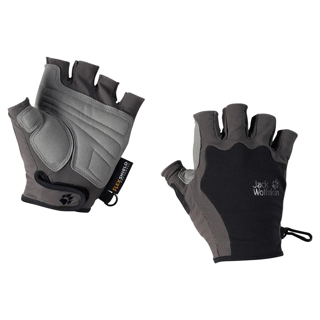 Перчатки спортивные Jack Wolfskin ACTIVATE SHORT GLOVE, цвет: черный, серый. 1901401-6001. Размер M (21,5/23)
