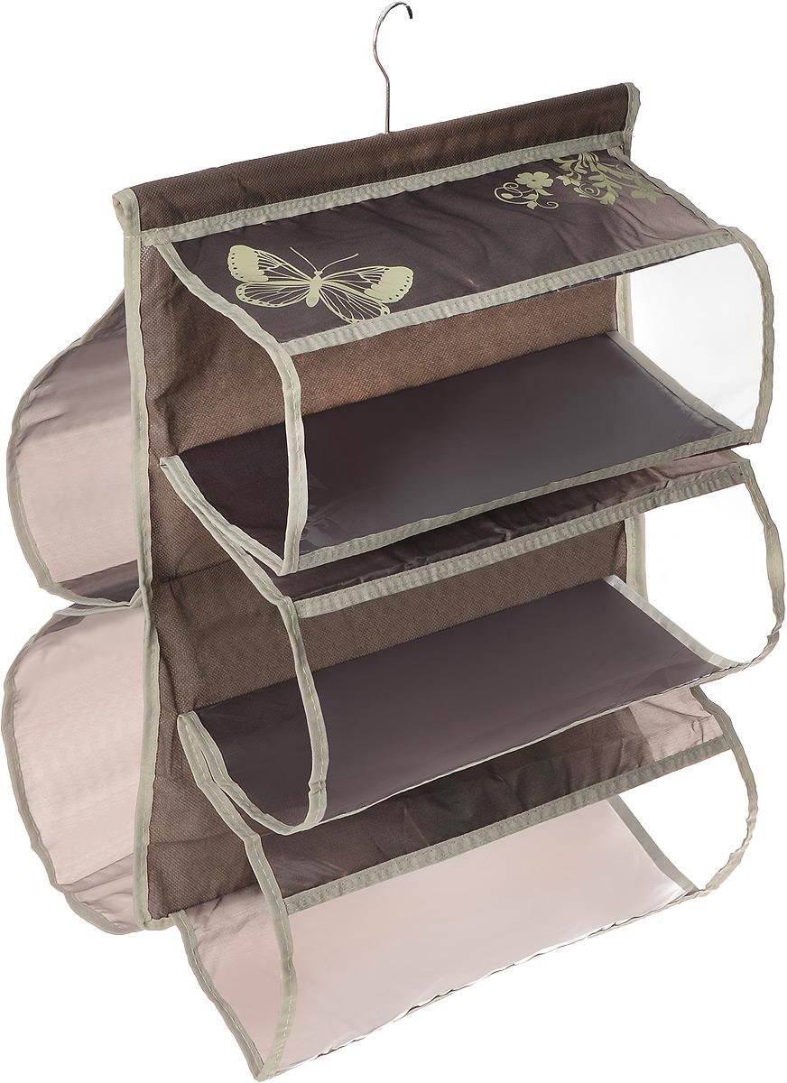 Чехол для хранения сумок Hausmann , 5 отделений, 42 х 72 см4D-305PЧехол для хранения сумок Hausmann изготовлен из полиэстера. Изделие имеет 5 отделений, его можно повесить в удобное место за крючок, который крепиться к деревянной перекладине. Чехол для хранения сумок Hausmann экономит место в шкафу и сохраняет порядок в доме. Практичный и удобный чехол для хранения сумок. Размер чехла: 42 х 72 см.