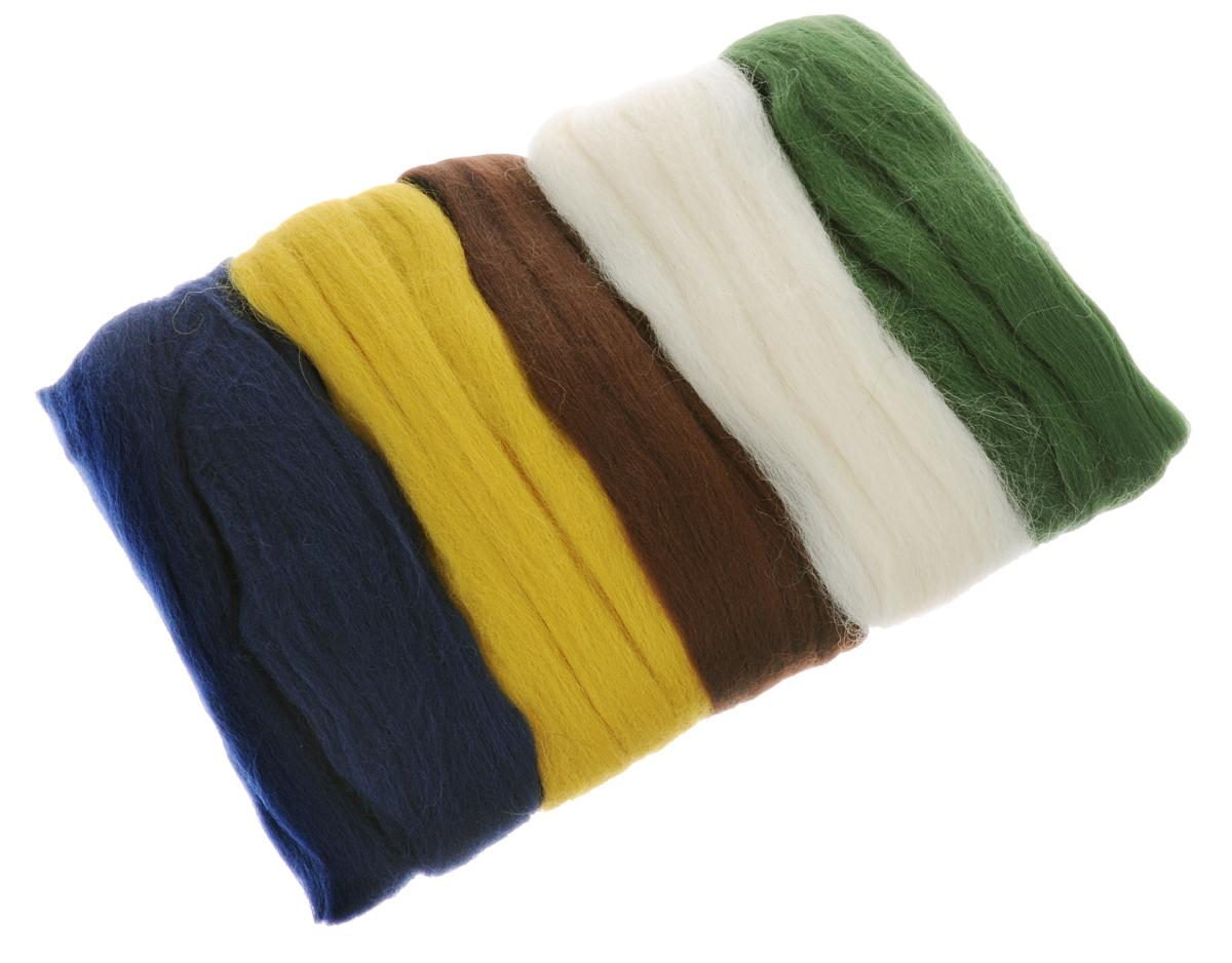 Шерсть для валяния RTO, 100 г, 5 шт. WF100/1WF100/1Шерсть для валяния RTO идеально подходит для сухого и мокрого валяния. Шерсть RTO не линяет при валянии и последующей стирке, легко расчесывается и разделяется на пряди. Готовые изделия из натуральной шерсти RTO хорошо поддаются покраске и тонированию. Валяние шерсти - это особая техника рукоделия, в процессе которой из шерсти для валяния создается рисунок на ткани или войлоке, объемные игрушки, панно, декоративные элементы, предметы одежды или аксессуары. Только натуральная шерсть обладает способностью сваливаться или свойлачиваться. В наборе 5 цветов - темно-синий, горчичный, терракотовый, суровый, зеленый.