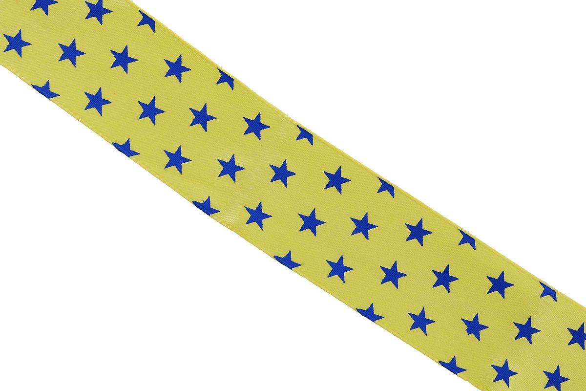 Лента атласная Dekor Line Звездочки, цвет: желтый, синий, 2,5 х 300 см7710572_желтыйАтласная лента Dekor Line Звездочки выполнена из высококачественного полиэстера. Область применения атласной ленты весьма широка. Лента предназначена для оформления цветочных букетов, подарочных коробок, пакетов. Кроме того, она с успехом применяется для художественного оформления витрин, праздничного оформления помещений, изготовления искусственных цветов. Ее также можно использовать для творчества в различных техниках, таких как скрапбукинг, оформление аппликаций, для украшения фотоальбомов, подарков, конвертов, фоторамок, открыток и прочего. Ширина ленты: 2,5 см. Длина ленты: 3 м.