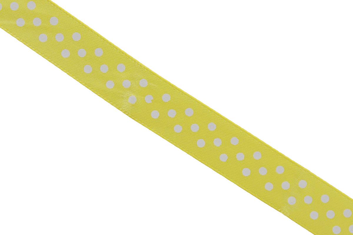 Лента атласная Dekor Line Горошек, цвет: желтый, белый, 1,5 х 300 см7710556_желтыйАтласная лента Dekor Line Горошек выполнена из высококачественного полиэстера. Область применения атласной ленты весьма широка. Лента предназначена для оформления цветочных букетов, подарочных коробок, пакетов. Кроме того, она с успехом применяется для художественного оформления витрин, праздничного оформления помещений, изготовления искусственных цветов. Ее также можно использовать для творчества в различных техниках, таких как скрапбукинг, оформление аппликаций, для украшения фотоальбомов, подарков, конвертов, фоторамок, открыток и прочего. Ширина ленты: 1,5 см. Длина ленты: 3 м.