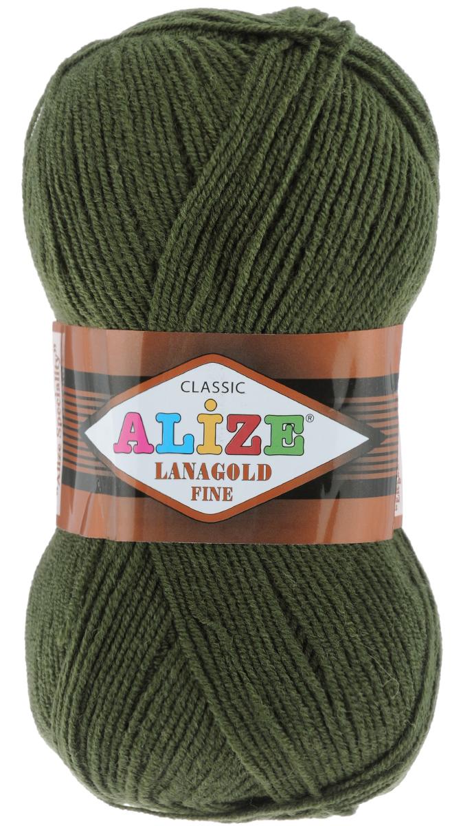 Пряжа для вязания Alize Lanagold Fine, цвет: темно-зеленый (29), 390 м, 100 г, 5 шт547499_29Alize Lanagold Fine - это полушерстяная пряжа для ручного вязания. Нить плотно скручена, гибкая, послушная, не пушится, не электризуется, аккуратно ложится в петли и не деформируется после распускания. Стойкое равномерное окрашивание обеспечивает широкую палитру оттенков, высокое качество материала и используемых красителей защищает от потери цвета. Соотношение шерсти и акрила - формула практичности. Высокие тепловые характеристики сочетаются с эстетикой, носкостью и простотой ухода за вещью. Классическая пряжа для зимнего сезона, может использоваться для детской и взрослой одежды. Alize Lanagold Fine - универсальная пряжа, которая будет хорошо смотреться в узорах любой сложности. Рекомендуемый размер спиц 2,5-4 мм и крючка 2-4 мм. Состав: 49% шерсть, 51% акрил.