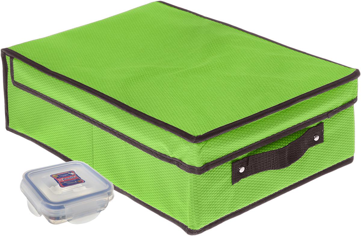 Кофр для хранения El Casa Соты, складной, цвет: зеленый, 27 x 41 x 12 см + ПОДАРОК: Контейнер для хранения продуктов Xeonic, 110 мл370049+2Вместительный кофр El Casa Соты, изготовленный из дышащего нетканого волокна, предназначен для хранения одеял, пледов и домашнего текстиля. Специальный нетканый материал позволяет воздуху проникать внутрь, при этом надежно защищая вещи от грязи, пыли и насекомых. Оригинальный дизайн сделает вашу гардеробную красивой и невероятно стильной. Размер кофра (в собранном виде): 27 см x 41 см x 12 см. В подарок к кофру прилагается герметичный контейнер для продуктов. Контейнер для хранения продуктов выполнен из высококачественного полипропилена. Он имеет 100% герметичность, термоустойчив, может быть использован в микроволновой печи и в морозильной камере, устойчив к воздействию масел и жиров, не впитывает запах. Удобен в использовании, долговечен, легко открывается и закрывается, не занимает много места. Контейнер можно мыть в посудомоечной машине. Размер контейнера: 9,5 см х 9,5 см х 3 см. Объем контейнера: 110 мл.