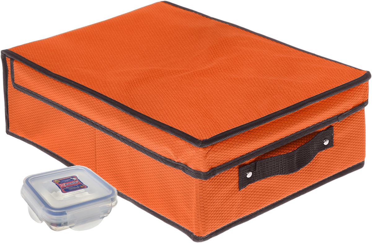 Кофр для хранения El Casa Соты, складной, цвет: оранжевый, 27 x 41 x 12 см + ПОДАРОК: Контейнер для хранения продуктов Xeonic, 110 мл370050+2Вместительный кофр El Casa Соты, изготовленный из дышащего нетканого волокна, предназначен для хранения одеял, пледов и домашнего текстиля. Специальный нетканый материал позволяет воздуху проникать внутрь, при этом надежно защищая вещи от грязи, пыли и насекомых. Оригинальный дизайн сделает вашу гардеробную красивой и невероятно стильной. Размер кофра (в собранном виде): 27 см х 41 см х 12 см. В подарок к кофру прилагается герметичный контейнер для продуктов. Контейнер для хранения продуктов выполнен из высококачественного полипропилена. Он имеет 100% герметичность, термоустойчив, может быть использован в микроволновой печи и в морозильной камере, устойчив к воздействию масел и жиров, не впитывает запах. Удобен в использовании, долговечен, легко открывается и закрывается, не занимает много места. Контейнер можно мыть в посудомоечной машине. Размер контейнера: 9,5 см х 9,5 см х 3 см. Объем контейнера: 110 мл.