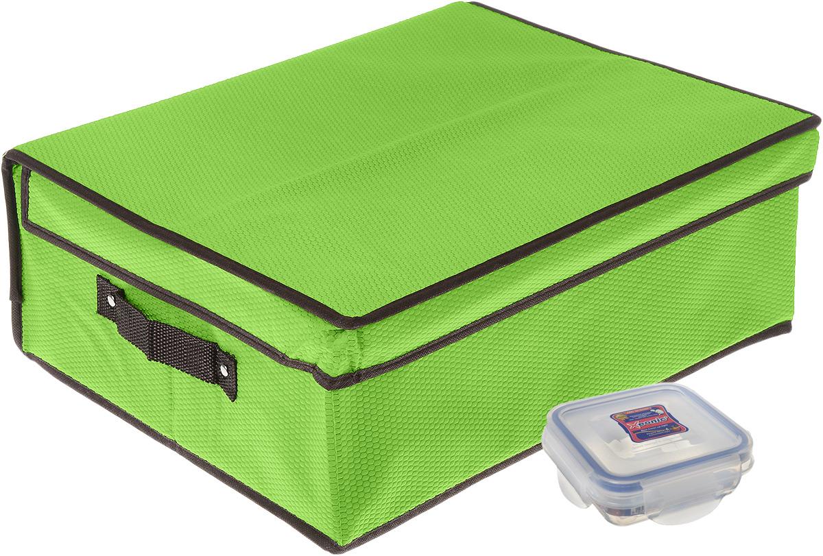 Кофр для хранения El Casa Соты, складной, цвет: зеленый, 40 x 33 x 16 см + ПОДАРОК: Контейнер для хранения продуктов Xeonic, 110 мл370041+2Вместительный кофр El Casa Соты, изготовленный из дышащего нетканого волокна, предназначен для хранения одеял, пледов и домашнего текстиля. Специальный нетканый материал позволяет воздуху проникать внутрь, при этом надежно защищая вещи от грязи, пыли и насекомых. Оригинальный дизайн сделает вашу гардеробную красивой и невероятно стильной. Размер кофра (в собранном виде): 40 см х 33 см х 16 см. В подарок к кофру прилагается герметичный контейнер для продуктов. Контейнер для хранения продуктов выполнен из высококачественного полипропилена. Он имеет 100% герметичность, термоустойчив, может быть использован в микроволновой печи и в морозильной камере, устойчив к воздействию масел и жиров, не впитывает запах. Удобен в использовании, долговечен, легко открывается и закрывается, не занимает много места. Контейнер можно мыть в посудомоечной машине. Размер контейнера: 9,5 см х 9,5 см х 3 см. Объем контейнера: 110 мл.