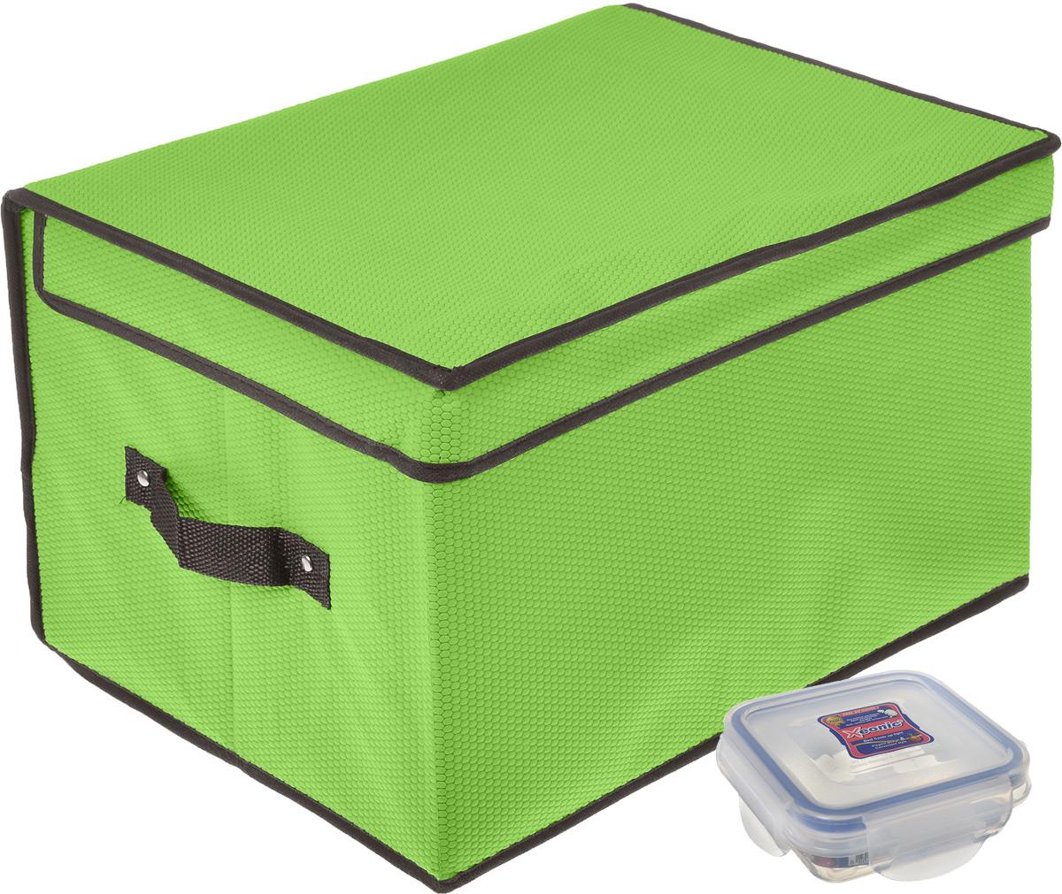 Кофр для хранения El Casa Соты, цвет: зеленый, 40 x 30 x 25 см + ПОДАРОК: Контейнер для хранения продуктов Xeonic, 110 мл370009+2Вместительный кофр El Casa Соты, изготовленный из дышащего нетканого волокна, предназначен для хранения одеял, пледов и домашнего текстиля. Специальный нетканый материал позволяет воздуху проникать внутрь, при этом надежно защищая вещи от грязи, пыли и насекомых. Оригинальный дизайн сделает вашу гардеробную красивой и невероятно стильной. Размер кофра (в собранном виде): 40 см х 30 см х 25 см. В подарок к кофру прилагается герметичный контейнер для продуктов. Контейнер для хранения продуктов выполнен из высококачественного полипропилена. Он имеет 100% герметичность, термоустойчив, может быть использован в микроволновой печи и в морозильной камере, устойчив к воздействию масел и жиров, не впитывает запах. Удобен в использовании, долговечен, легко открывается и закрывается, не занимает много места. Контейнер можно мыть в посудомоечной машине. Размер контейнера: 9,5 см х 9,5 см х 3 см. Объем контейнера: 110 мл.