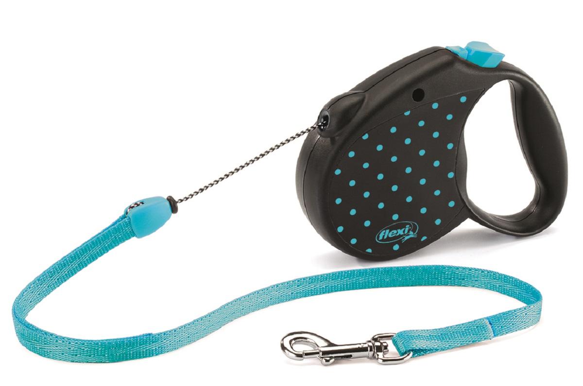 Рулетка Flexi Color S (до 12 кг) трос 5 м голубая014219dРулетка для собак весом до 12 кг - выбор стильных натур, следящих за модой и ценящих комфорт. Красочный, дерзкий дизайнерский рисунок добавляет изюминку совершенной технике FLEXI и превращает рулетку в изысканный аксессуар. Рулетка позволит вашей собаке совершать в 3 раза больше движений чем традиционные поводки, что сохранит ее здоровье и хорошую форму надолго. Рулетка очень проста в использовании – управлять ею способен даже ребенок. Прочный корпус и хромированная застежка придают надежности и прослужат вам долгие годы. Длина ременного поводка 5 м. Цвет голубой.