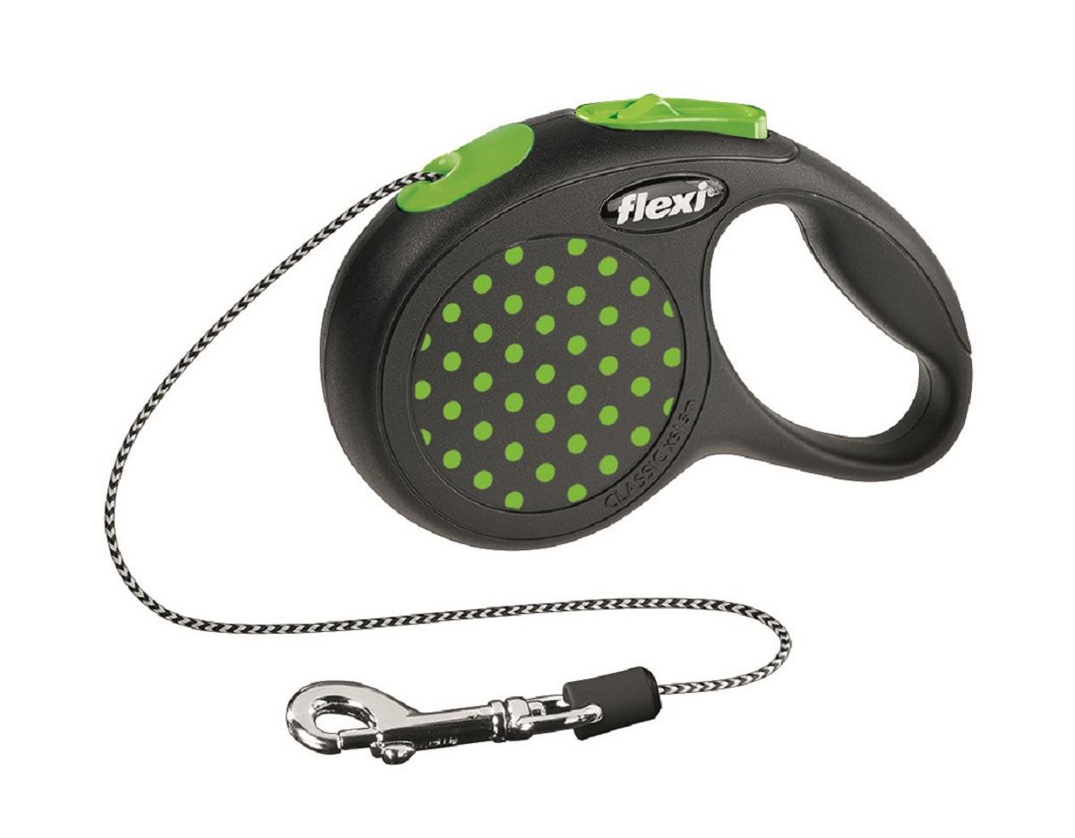 Рулетка Flexi Design XS (до 8 кг) 3 м трос черный / зеленый горох25437Тросовый поводок-рулетка предназначен для выгула собак весом до 8 кг. Рулетки FLEXI производятся в Германии более 40 лет и особое внимание уделяется обеспечению безопасности и комфорта использования: - обновленная эргономичная кнопка системы торможения - запатентованная тормозная система - надежный карабин Запатентованая система сматывания и фиксации длины — дополнительное удобство, помогающее контролировать поведение животного. Корпус рулетки выполнен из ударопрочного пластика. Рулетка очень легка в применении, принесет вам еще большую радость от моментов, проведенных с любимцем.Длина 3 м, цвет черный в зеленый горошек.