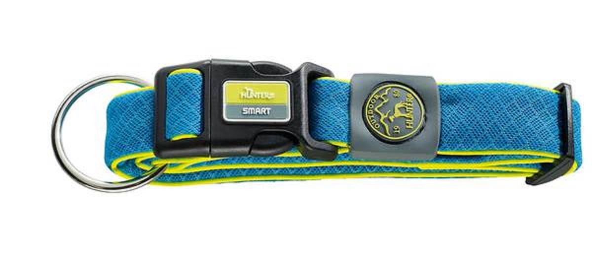 Ошейник для собак Hunter Smart Maui S, цвет: голубой, 42-65 см92694Ошейник для собак Hunter Maui выполнен из невероятно мягкого и легкого сетчатого текстиля. Регулируется по размеру в широком диапазоне. Застегивается на пластиковый карабин, имеет металлическое кольцо для поводка. Обхват шеи: 42-65 см. Ширина ошейника: 3,5 см.